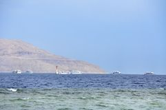 White yachts in Red sea Stock Image