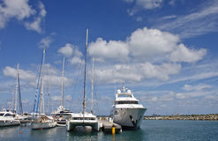 White Yachts and Sailboats Royalty Free Stock Images