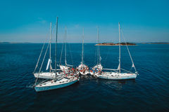 White yachts in the sea are beautiful Stock Images