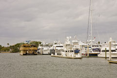 White Yachts at Straw Hut Royalty Free Stock Photography