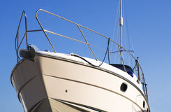 White yatch. Side part of a luxurius white yatch Royalty Free Stock Photos