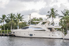 White Yatch at Fort Laurerdale Marina Stock Photography