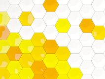 White and yellow background with hexagon pattern Stock Images