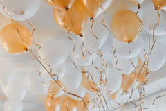 White and yellow balloons Royalty Free Stock Image