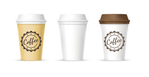 White, yellow, brown cups of coffee icons. White, yellow, brown paper cofee cups on white background Royalty Free Stock Photography