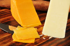 White and yellow cheddar cheeses Stock Photography
