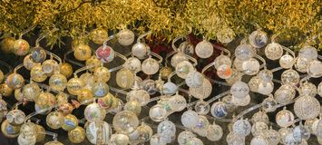 White and yellow Christmas globes Royalty Free Stock Images