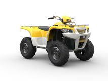 White and yellow classic quad bike Royalty Free Stock Photos