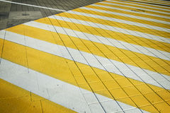 White yellow crosswalk zebra crossing. Pedestrian crossing with shadow Royalty Free Stock Photography