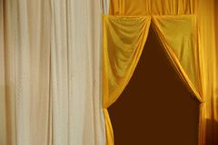 White and yellow curtain backdrop background for wedding. Yellow curtain backdrop background for wedding stage Royalty Free Stock Image