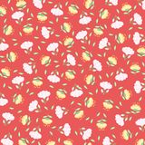 White and Yellow Flower Pattern - vector eps10. White and Yellow Flower Pattern With Red Background - vector eps10 Stock Photography