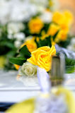 White and yellow flowers in the wedding floral decorations. Royalty Free Stock Photography
