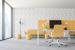 White and yellow loft office interior royalty free illustration