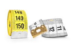 White and yellow measuring tape Royalty Free Stock Images