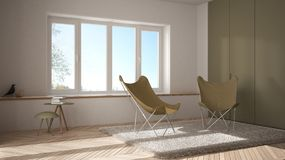 White and yellow minimal living room with armchair carpet, parquet floor and panoramic window, scandinavian architecture, modern i stock illustration