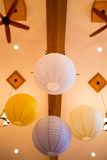 White and Yellow Paper Lanterns at Wedding Stock Image
