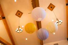 White and Yellow Paper Lanterns at Wedding Royalty Free Stock Photography