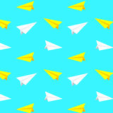 White and yellow paper planes vector pattern, background Stock Photo
