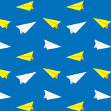 White and yellow paper planes vector pattern, background Royalty Free Stock Photography