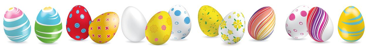 White, yellow, red, striped colorful Easter eggs on the white background. Set of bright Easter eggs. White, yellow, red, striped colorful Easter eggs on the Stock Image