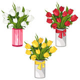White, yellow and red tulips in vases isolated. White, yellow and red tulips in vases, vector flowers Royalty Free Stock Image