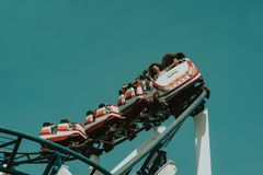White and Yellow Roller Coaster Stock Images