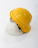 White and yellow safety hat Stock Photo