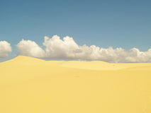 White or yellow sand dune desert and sunlight on hot  summer. And  cloud on blue sky in Vietnam, , beautiful of nature, background and landscape Stock Image