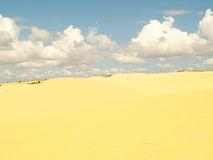 White or yellow sand dune desert and sunlight on hot  summer. And  cloud on blue sky in Vietnam, , beautiful of nature, background and landscape Stock Photo