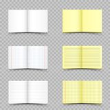 White and yellow school notebooks set. White and yellow school in a ruler and in a cell notepads set with shadow on transparent background. Student copybook Stock Photo