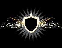 White yellow shield. White and yellow shield on a black background royalty free illustration