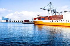 White and Yellow Ship on Large Body of Water Royalty Free Stock Photos