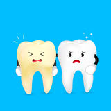 White and yellow tooth characters. Royalty Free Stock Photography
