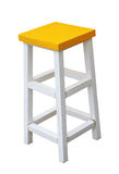 White and yellow wooden stool isolated by hand made clipping pat Stock Photo