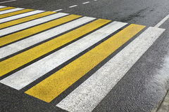White Yellow Zebra Pedestrian Crossing On The Wet Asphalt Road Royalty Free Stock Photo