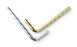 White and yellow zinc plating hex key. Close up old and dirty yellow zinc plating hex keys or wrench isolated on white - deep focus image with path - stacked Stock Photography