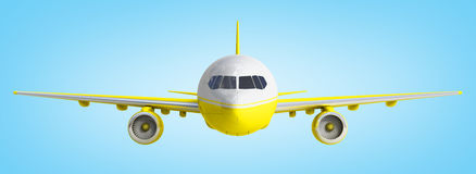 White and yelow airplane 3d rendering on blue background Royalty Free Stock Image