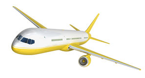 White and yelow airplane 3d rendering on white background. And yelow airplane 3d rendering on white background Royalty Free Stock Photos