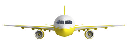 White and yelow airplane 3d rendering on white background. Image Royalty Free Stock Photography