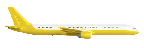 White and yelow airplane 3d rendering on white background Royalty Free Stock Photography