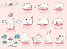 White Yoga Cat set Stock Image