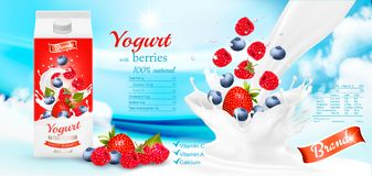 White yogurt with fresh berries in box. Stock Image