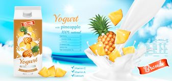 White yogurt with fresh pineapple in box. Royalty Free Stock Photo
