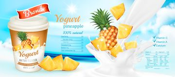 White yogurt with fresh pineapple. Stock Photos