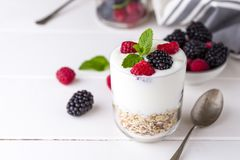 White yogurt with muesli and raspberries in glass bowl on white wooden background. White yogurt with muesli and raspberries in glass bowl on white wooden Stock Photography