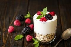 White yogurt with muesli and raspberries in glass bowls on rusti. C wooden background Stock Image