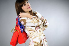 White young woman shopping Stock Images