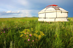 White yurt. A white yurt on the Nailin Gol grassland Royalty Free Stock Image