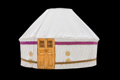 White Yurt housing the Kazakh nomadic tribes isolated on black background. National cabin white hull yurts of the Kazakh nomadic tribes, isolated on black Stock Photography