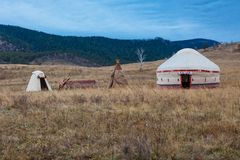 White Yurt - Nomad`s Tent Is The National Dwelling Of Kazakhstan People Stock Images